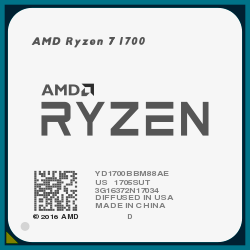 Процессор AMD Ryzen 7 1700 AM4 (8x 3.00 GHz/16Mb/65W TDP)