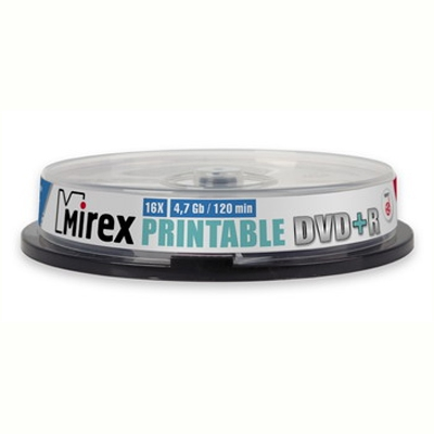 Диск DVD+R Mirex 4.7Gb, 16x, 10шт. Cake Box, printable inkjet