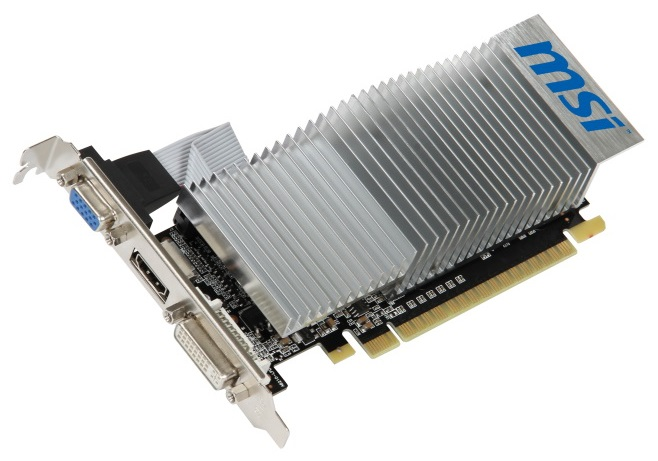 Видеокарта MSI NVIDIA GeForce GT 210 [PCI-E 2.0, 512MB, 64b, DDR3, 589/1000, DVI-I, HDMI, VGA] (N210-TC1GD3H/LP)