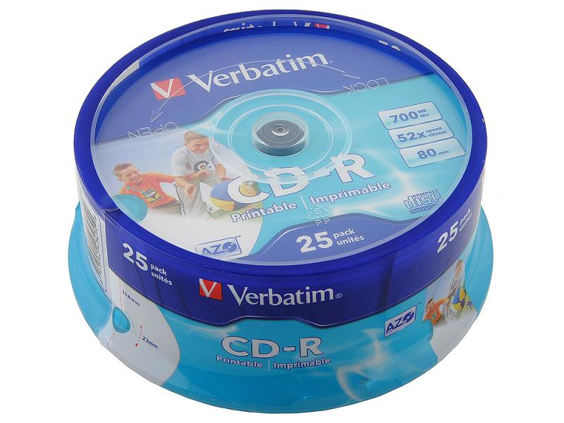 Диск CD-R Verbatim 700Mb, 52x, 25шт. (Cake Box)