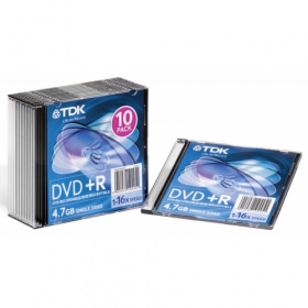 Диск DVD+R TDK 4.7Gb, 16x, Slim Case