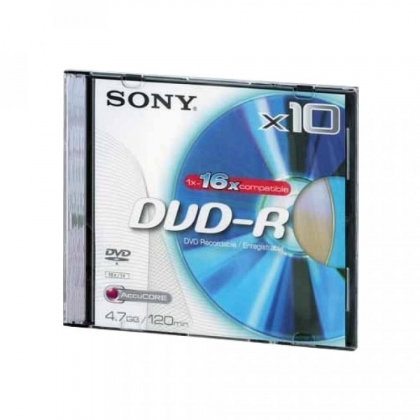 Диск DVD+R Sony 4.7Gb, 16x, Slim Case